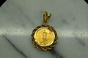 1-10TH-OZ-1989-5-GOLD-AMERICAN-EAGLE-COIN-IN-A-14K-YELLOW-GOLD-ROPE-BEZEL