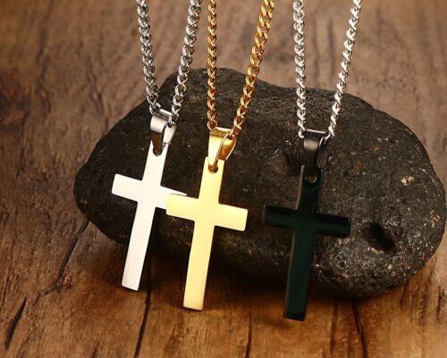 Men Stainless steel Plain Gold Silver Black Cross Pendant Necklace Chain Link