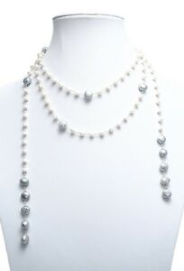 Genuine-Freshwater-Pearl-Long-Wrap-56-034-Open-Claspless-Necklace