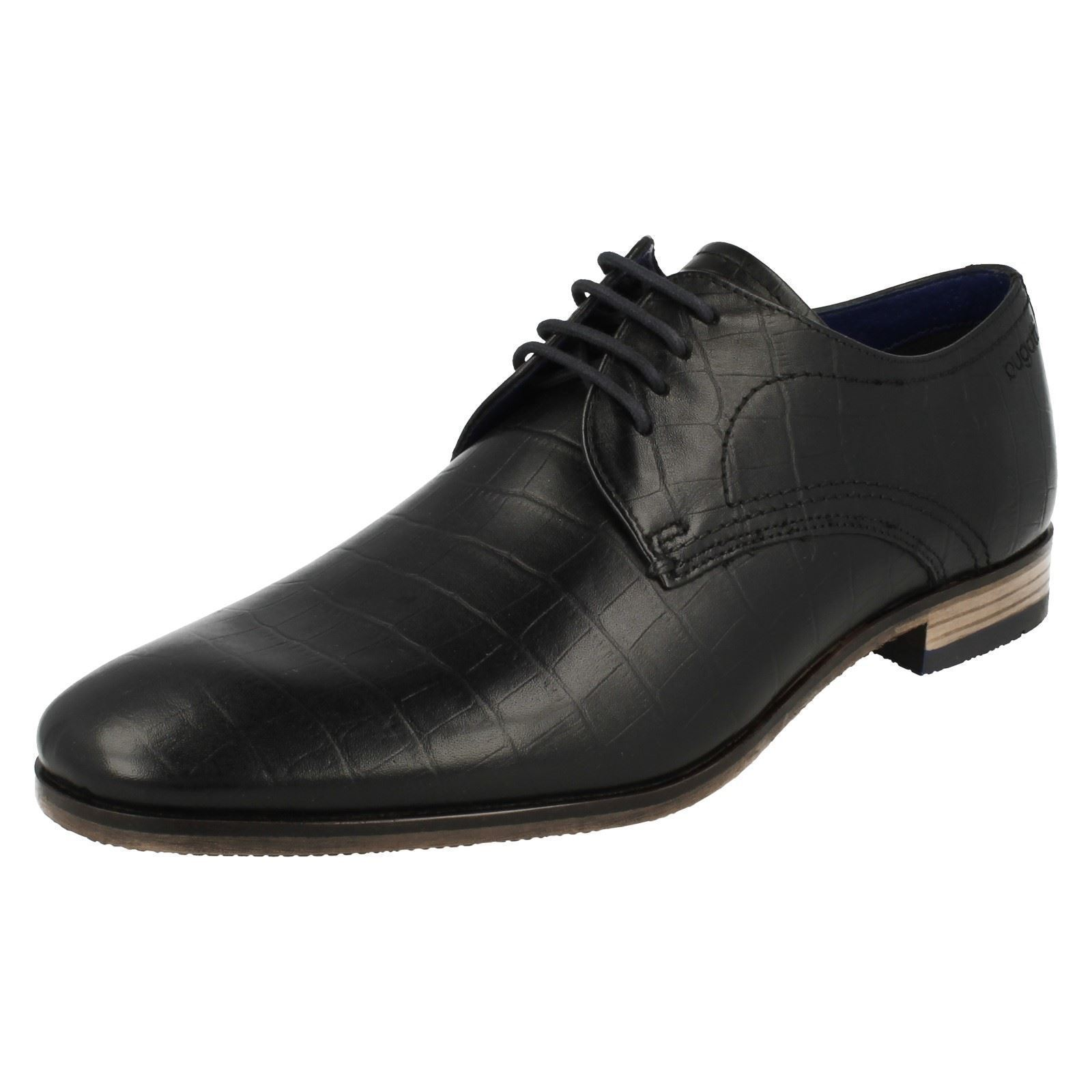 Hombre Bugatti Cordones Puntera rojoonda Cuero Negro Zapatos Trabajo Formal