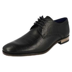 Hommes BUGATTI Lacet Bout Rond Cuir Noir Habillé Chaussures Travail 312-10501