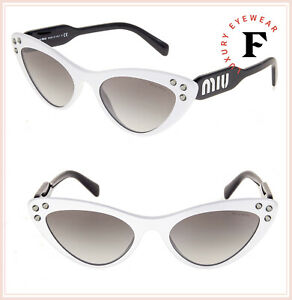9d1bedc6f012 MIU MIU LOGO CRYSTAL 05T Black White Thin Cat Eye Sunglasses MU05TS ...
