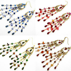 CC 4.5 in BLUE RED GREEN BROWN CRYSTAL SHELL HOOK CHANDELIER GOLD EARRINGS NEW