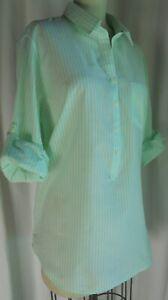 J-Crew-Green-White-Stripe-1-2-Button-down-Popover-Tunic-Shirt-Top-Women-039-s-Sz-L
