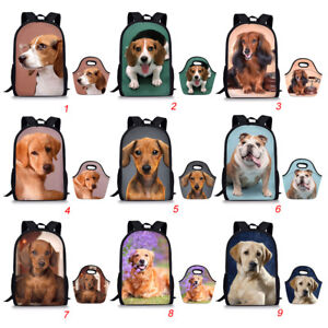 Dachshund-Print-Backpack-For-Teenage-Girl-School-Bags-Picnic-Lunch-Tote-2PCS-Set