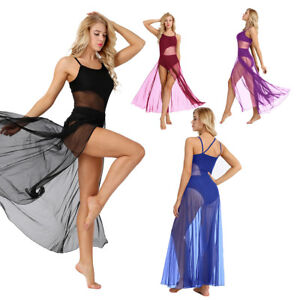 Women-Adult-Spaghetti-Strap-Lyrical-Dance-Dress-Mesh-Maxi-Skirt-Built-In-Leotard