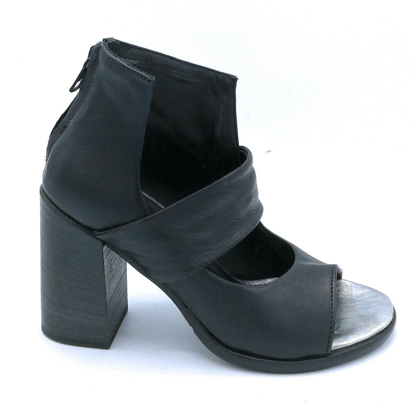 Mjus 780005 sandalo in pelle negro-plata con cerniera post. tacco largo 9 cm