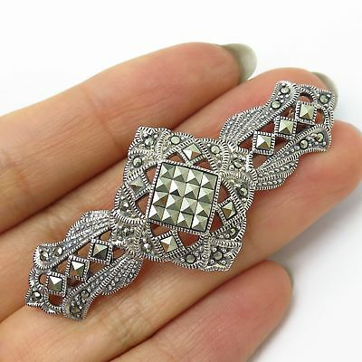 Apprehensive Vtg 925 Sterling Silver Real Marcasite Gemstone Openwork Pin Brooch Quell Summer Thirst Jewelry & Watches Retro, Vintage 1930s-1980s