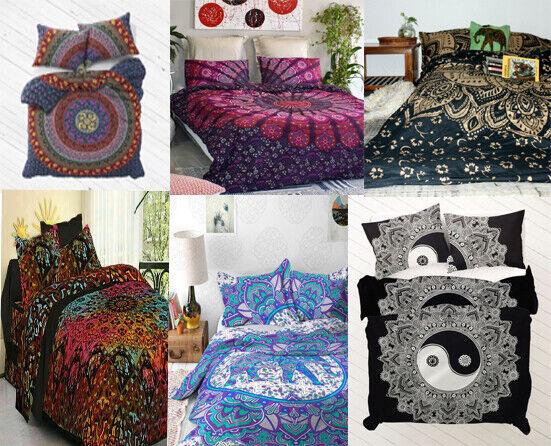 Indisches Mandala Steppdecke Bettwäsche Baumwolle Queen Größe Doona Bett