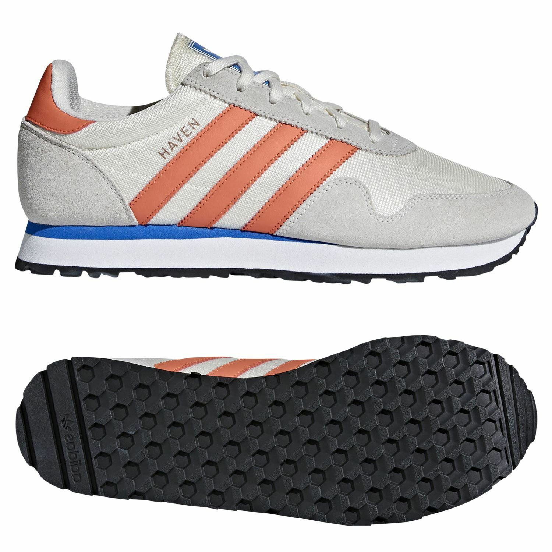 Adidas ORIGINALS MEN'S HAVEN TRAINERS CHALK WHITE RETRO SHOES SNEAKERS 3 STRIPES