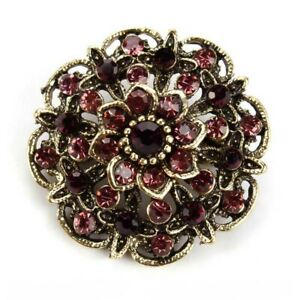 BROOCH-Small-Vintage-Wine-Gold-Color-Rhinestone-Flower-Antique-Brooch-Pin-Gift