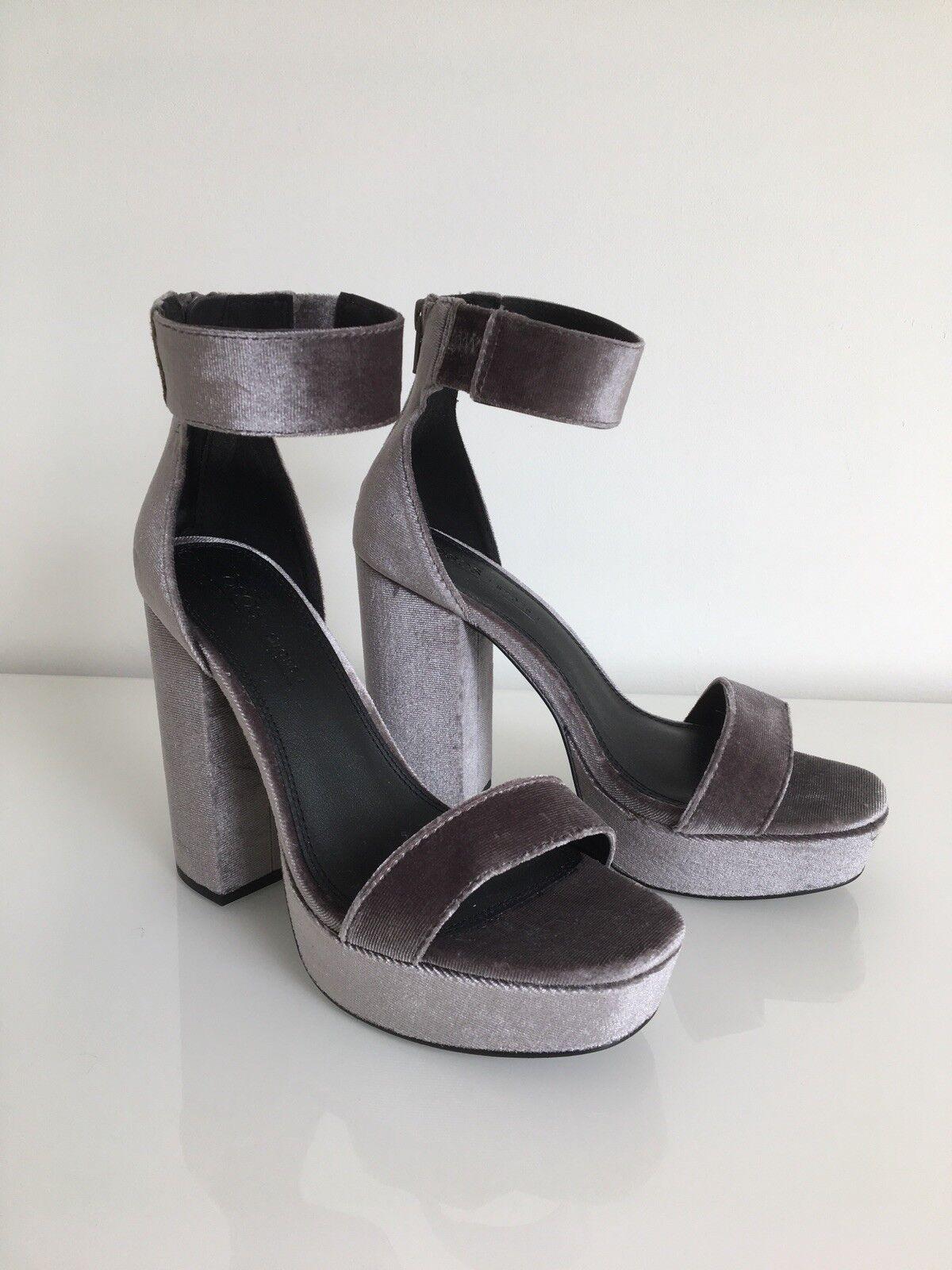 ASOS laque gris à talon compensées Soirée Sandales Chaussures Taille 5