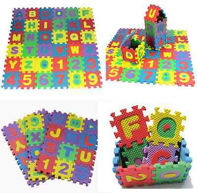 36pcs Colorful Alphabet & Numerals Soft Foam Mats Baby Kid Play Educational Toy