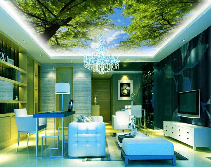 3D Sky Grün Trees 9 Ceiling WallPaper Murals Wall Print Decal Deco AJ WALLPAPER