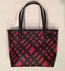 f4b78f796161 NEW COACH F22246 MINI CITY ZIP BLACK RED PRINT COATED CANVAS TOTE ...
