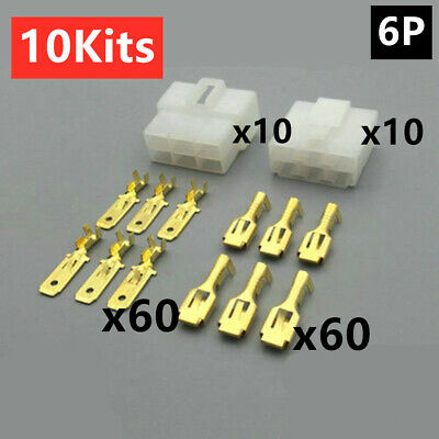 6.3mm PIN Spade Plug 8-Way Auto Car Motorbike Boat Connector Electrical Kit