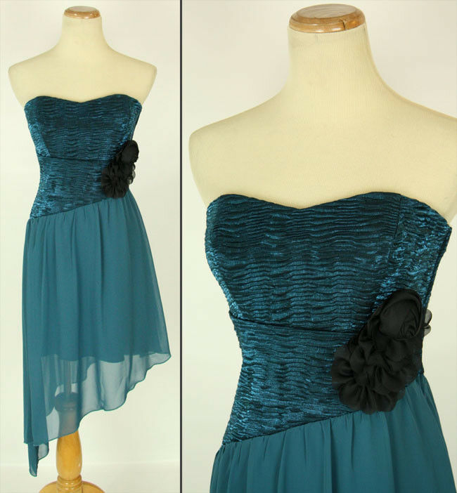 NEW WINDSOR  Teal Ruched-Bust Floral Juniors Cocktail Party Short Dress 5