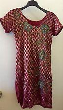 Pakistani Indian Sari Saree Wmns Girls Tunic Dress Beaded Embroider FABRIC Small