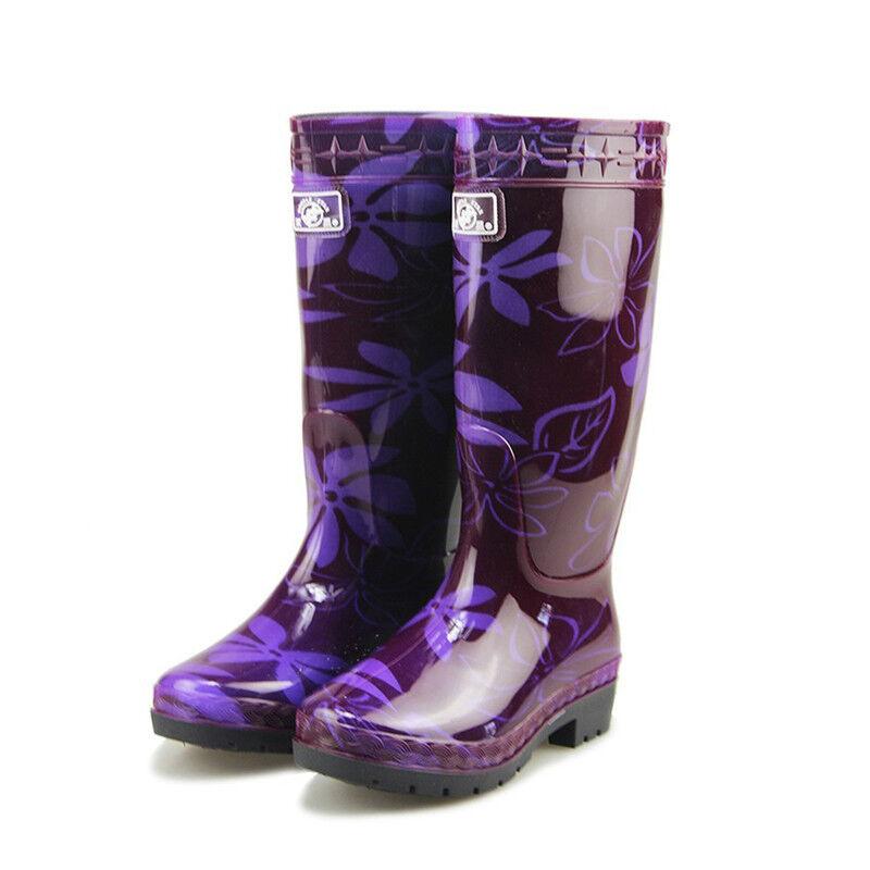 Womens Mid-calf Rain Boots Camouflage Rain Boot Galoshoes Fashion Printing Sweet
