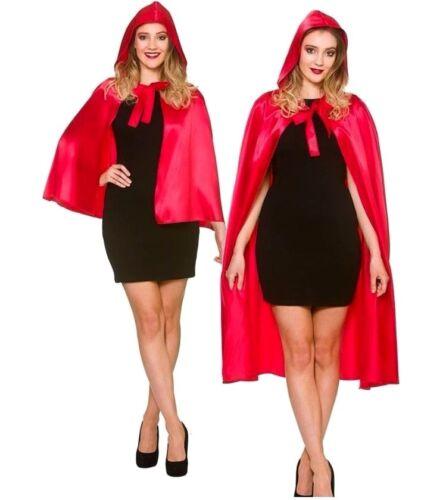 CORTO Adulto Deluxe Rosso in Raso con cappuccio Mantello Halloween Fiaba Libro Settimana LUNGO