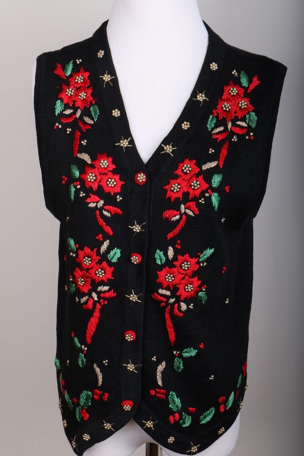 Arriviste Christmas Cardigan Sweater Vest Poinsettia Size Petite M
