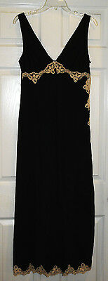 Vintage Nylon Black Evette Long Negligee Nightgown Lace Large Bombshell Sexy