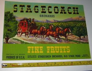 Original Vintage NOS Fruit Crate/Box Label StageCoach Orchards Medford Oregon