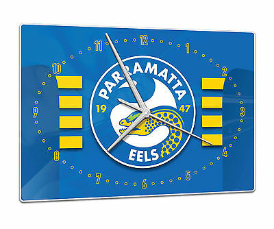 Licensed NRL PARRAMATTA EELS Rugby League Glass Clock Pool Cue Room Man Cave