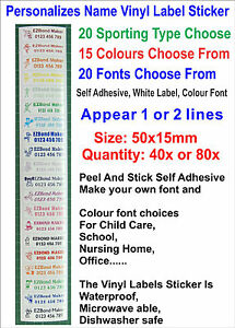 Details about 40x or 80x Colour Sports Type - Personalised Vlnyl Label  Stickers Size: 50x15mm