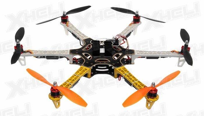 AeroSky 550 Drone 6 canales Hexacóptero Casi Listo Para Volar Radio Control Teledirigido (Amarillo)