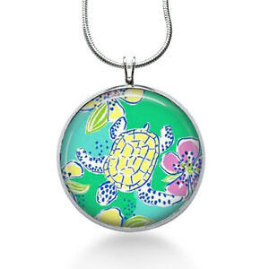 Turtle-necklace-lilly-pulitzer-fabric-green-animal-pendant-turtle-jewelry