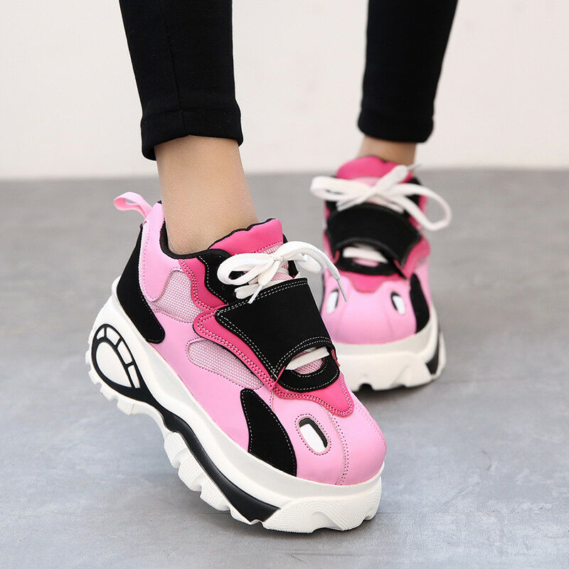 Women's Wedge High Heel Platform Mesh Lace Up Athletic Sneakers shoes Sport New