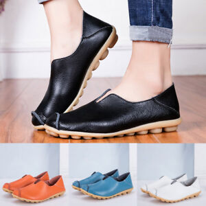 Ladies-Womens-Round-Toe-Solid-Slip-On-Shoes-Flat-Single-Shoes-Peas-Boat-Shoes