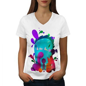 Wellcoda Petit Monstre Mignon Femme T-shirt Col V, Couleur De Conception Graphique Tee-afficher Le Titre D'origine Avec Les éQuipements Et Les Techniques Les Plus Modernes