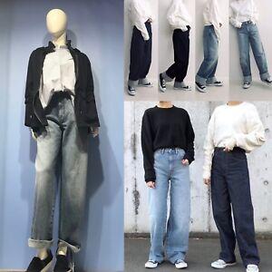 17b2408f6 UNIQLO 2019 Women Uniqlo U High Rise Wide Straight Demin Pants ...
