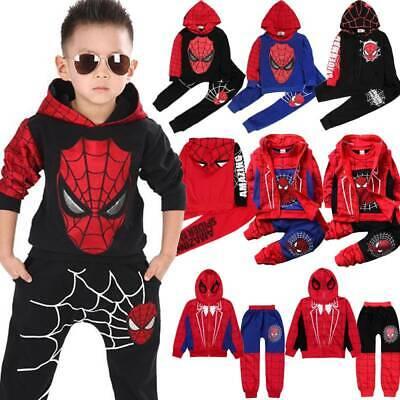 Kids Boys Tracksuit Sets Spiderman Hoodies Sweatshirt Pant Set Clothes Outftis