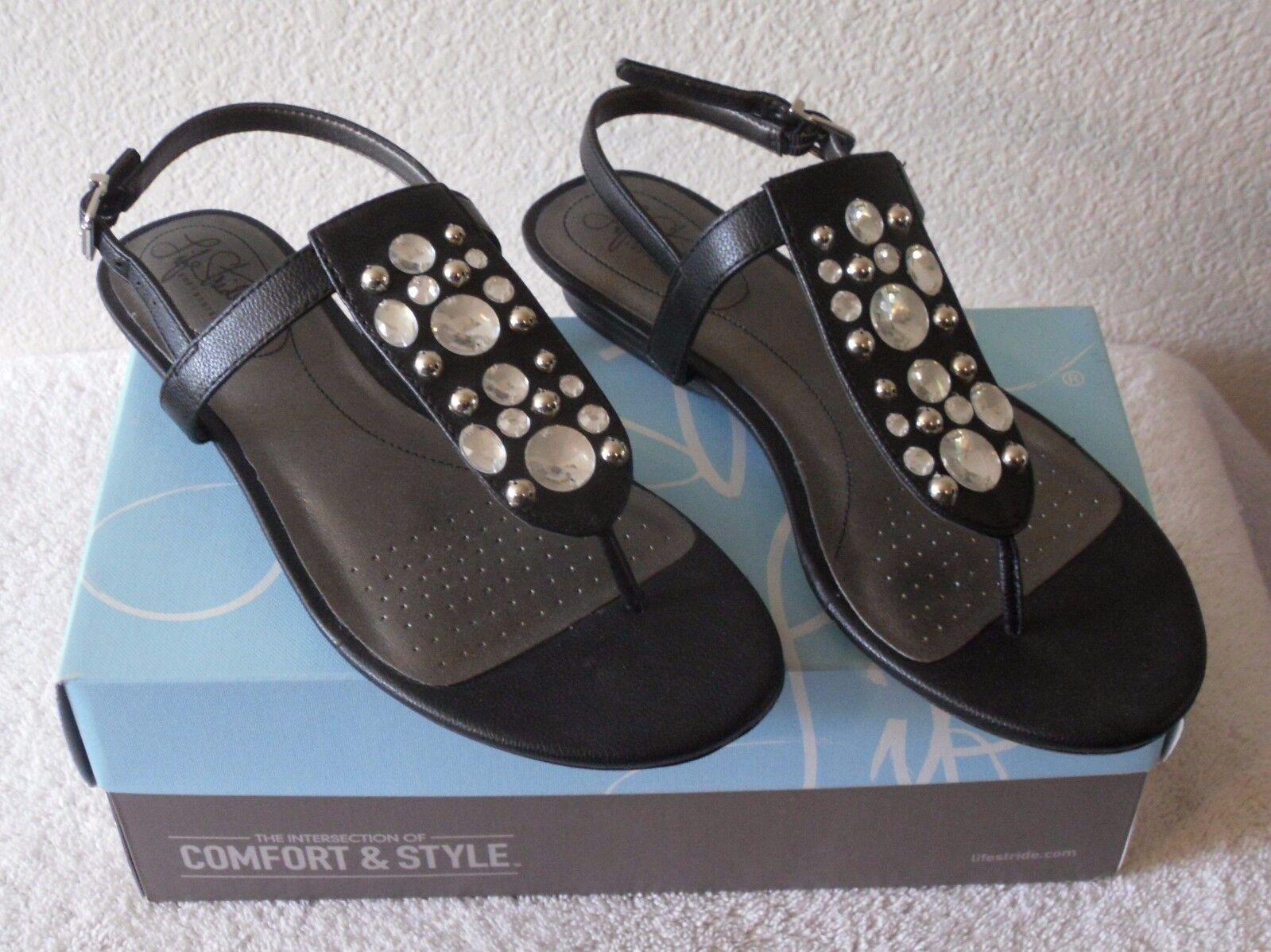 NIB Slingback LifeStride Envy Womens Embellished Slingback NIB Sandals 7 Black MSRP$60 180eeb