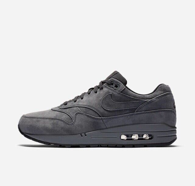 Nike Air Max 1 Premium Anthracite Grey Suede 8754844-010 Size 12