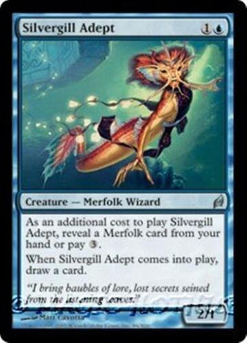 SILVERGILL ADEPT Lorwyn MTG Blue Creature — Merfolk Wizard Unc