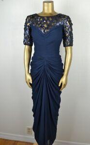TADASHI-SHOJI-8-Fabulous-Navy-Beaded-Ruched-Gown-Illusion-Top-Chiffon-Skirt