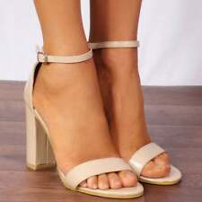 Nude Patent Block Heeled Strappy Sandals Ankle Strap High HEELS Shoes Size UK 7