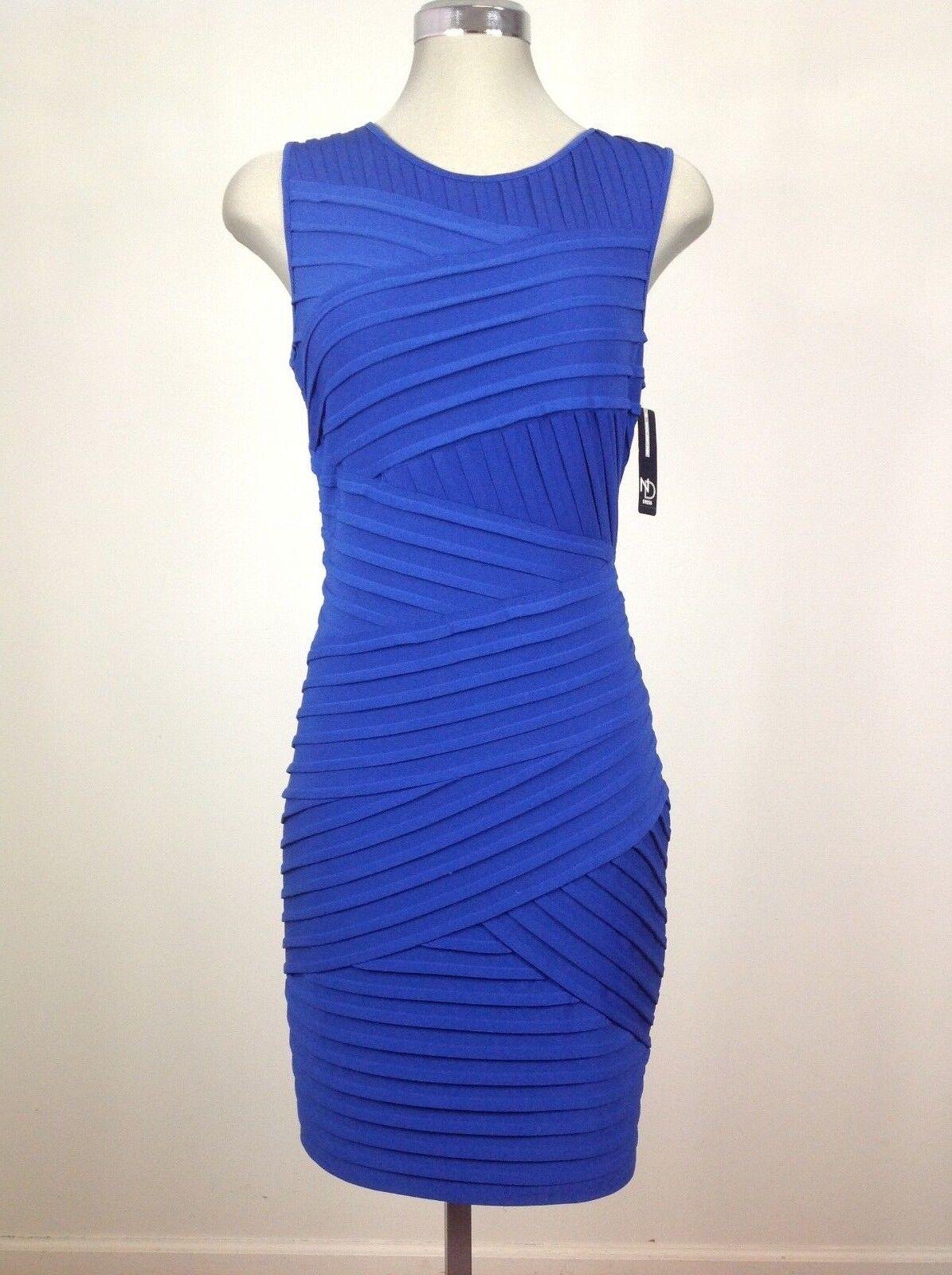 New Direction NEW Atlantis bluee Sleeveless Sexy Bodycon Pleated Ribbed Dress