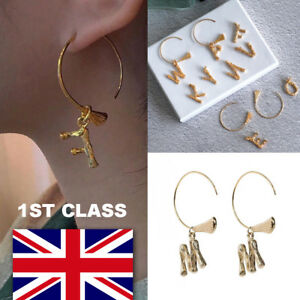Alphabet-Letter-Initial-Hoop-Earrings-Brass-Gold-A-to-Z