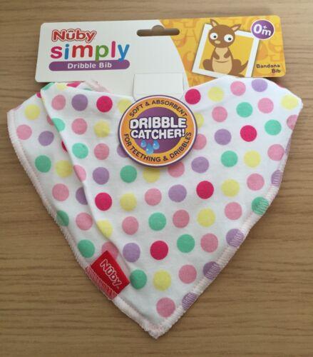 Gorgeous New Nuby Spotty Polka Dot Teething Dribble Catcher Bandana Bib