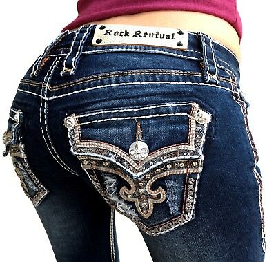 Women Rock Revival Jeans Low Rise Tibbie Rhinestone ...