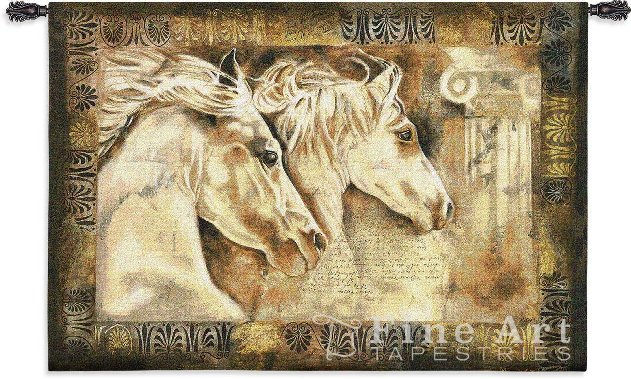 53x36 Weiß Horses MESSENGERS OF SPIRIT Tapestry Wall Hanging