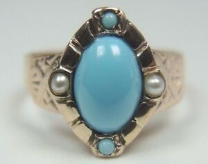 Antique-Victorian-Persian-Turquoise-Ring-14K-Yellow-Gold-Ring-Size-6-UK-L1-2