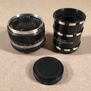 AUTO-VIVITAR-1-2-8-f-35mm-M42-Pentax-Lens-with-Auto-Extension-Tube-Set-AET-1