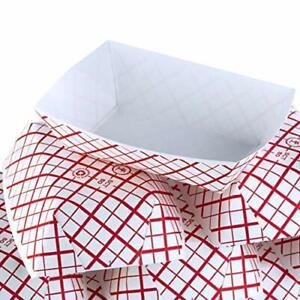 [0.25 to 5 Lb] Retro Red & White Check Paper Food Trays Bulk Pack by Avant Grub