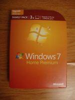 Microsoft Windows 7 Home Premium Upgrade Family Pack 3 PCs 32 & 64 Bit